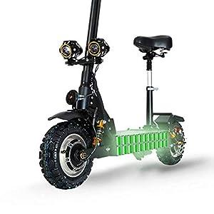 GUNAI 3200W Trottinette électrique Pliable avec 60V Batterie Au Lithium Vitesse Maximum 85km / h Double Entraînement 11 Pouces Scooter de Navettage avec Siège