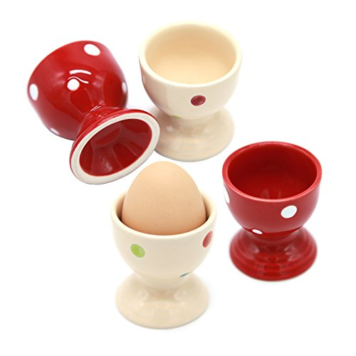 Passionier Egg Cups, Set of Four Ceramic Polka Dot Egg Cups Porcelain Egg Holders - Gifts for Kitchen (Cup Egg Porcelain)