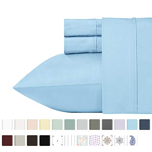 (California Design Den 400 Thread Count 100% Cotton Sheet Set, Blue Queen Sheets 4 Piece Set, Long-Staple Combed Pure Natural Cotton Bed Sheets for Bed, Soft & Silky Sateen Weave )