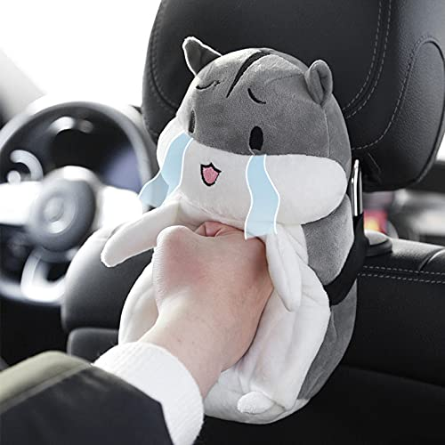 Ymibull Creative Cute Cartoon Car Hamster Tissue Box, Napkin Box Storage Box for Car and Home Bathroom Kitchen Office (A)