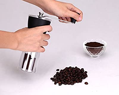 CoastLine Slim Hand Manual Coffee Grinder Travel Ceramic Hand Crank, Slim Space-Saving Design | Coffee Grinding on the Go | Great for Traveling, Hiking and Camping