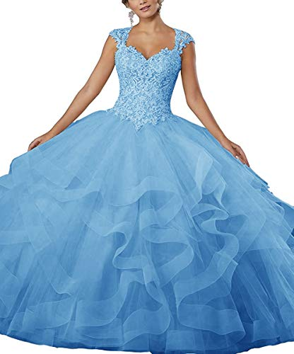 XSWPL Heavy Beaded Lace Applique Quinceanera Dress for Sweet 16 Organza Ball Gowns -