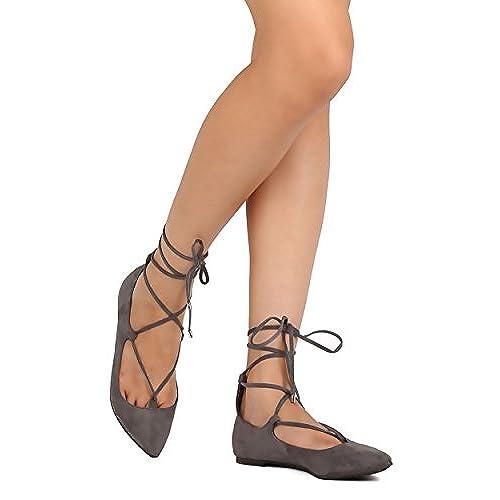 4d32c9dfc75f Breckelles FH77 Women Faux Suede Pointy Toe Lace Up Ankle Wrap Ballet Flat  hot sale