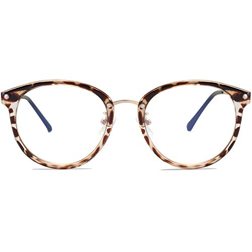 SOJOS Round Anti Blue Light Blocking Glasses Women Computer Eyeglasses Ashley with Leopard Print Frame/Anti-Blue Light Lens
