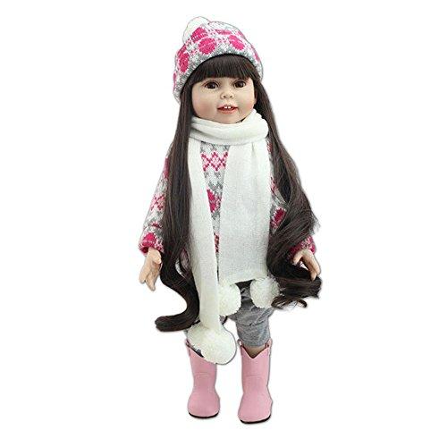 Minidiva Reborn Baby Dolls RB100, 18 inch 45 cm Realistic Newborn Babies Dolls Lifelike Soft Silicone 100% Handmade Fashion Girl Doll Long Hair Princess For Children Age 3+, EN71 Certification