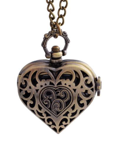 (Vintage Bronze Heart Steampunk Pocket Necklace Watch for Women Girls Zebella)
