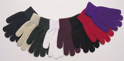Easy Care Knit Pimple Grip Riding Gloves - Red, One Size ()
