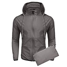 Coofandy Unisex Lightweight Hooded Running Cycling Rain Jacket Outdoor Raincoat