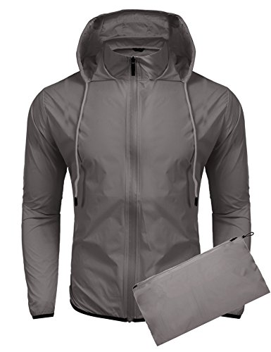 COOFANDY Unisex Lightweight Hooded Running Cycling Rain Jacket Outdoor Raincoat,Grey,Large -