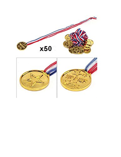 (Pack of 50pcs Kids Children's Gold Plastic Winner Award Medals for School Activities, Sports and Birthday Parties (50))