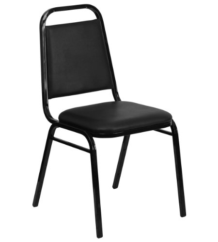 HERCULES Series Upholstered Stack Chair with Trapezoidal Back and a 1.5'' Padded Foam Seat - Black Vinyl with Black Frame