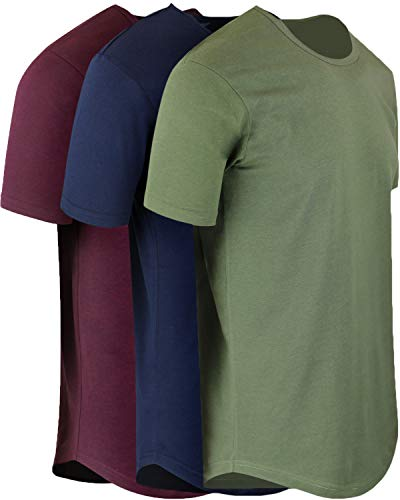 ShirtBANC Mens Hipster Hip Hop Long Drop Tail T Shirts (Military Green | Navy | Wine, ()