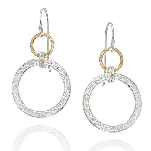 Fashionable Two Tone Circles Dangle Earrings in 925 Sterling Silver and Yellow 14k Gold-filled