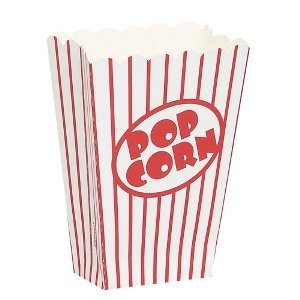 Movie Theater Red and White Striped Popcorn Boxes, 10ct