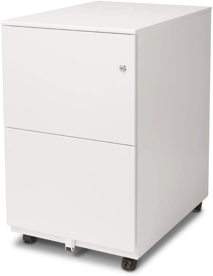 Aurora FC-102WT Modern Soho Design 2-Drawer Metal Mobile File Cabinet with Lock Key/Fully Assembled, White