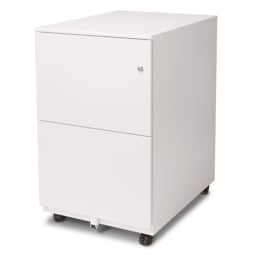 Aurora FC-102WT Modern Soho Design 2-Drawer Metal Mobile File Cabinet with Lock Key/Fully Assembled, White by AURORA
