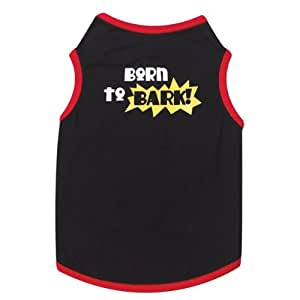 Casual Canine Polyester/Cotton Born to Bark Print Dog Tee, XX-Small, 8-Inch, Black