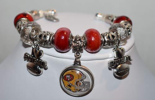 (San Francisco 49er's Football, Pandora Style Cuff Bracelet, NFL Inspired Jewelry, Women's Fashion Jewelry, Women's Cuff Bracelet, Women's Costume)