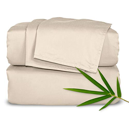 """Pure Bamboo Sheets - Queen Size Bed Sheets 4pc Set - 100% Organic Bamboo - Incredibly Soft - Fits Up to 16"""" Mattress - 1 Fitted Sheet, 1 Flat Sheet, 2 Pillowcases (Queen, Sand)"""