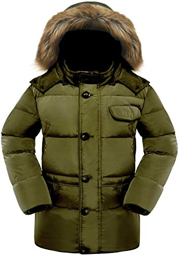 463253d83 Valuker Men's Down Coat With Fur Hood 90D Parka Puffer Jacket Green-M