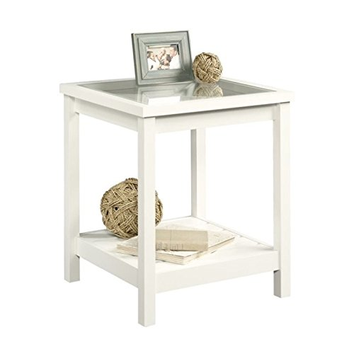 Sauder Cottage Road Side Table, Soft White finish (Table White Side Glass)