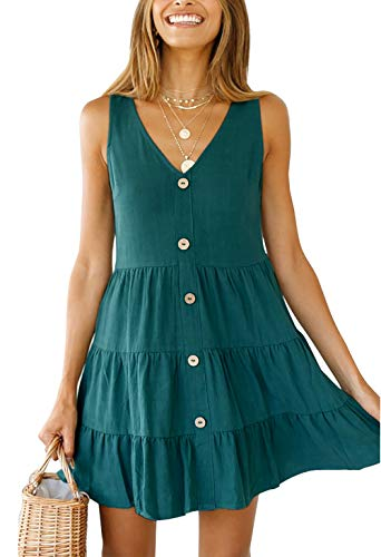 OEUVRE Women V Neck Sleeveless Button Front A Line Short Tank Dress Babydoll Ruffle Mini Sundress Green L