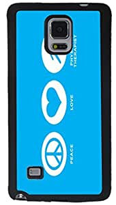 Rikki KnightTM Peace Love Physical Therapist Sky Blue Design Samsung? Galaxy Note 4 Case Cover (Black Rubber with front Bumper Protection) for Samsung Galaxy Note 4