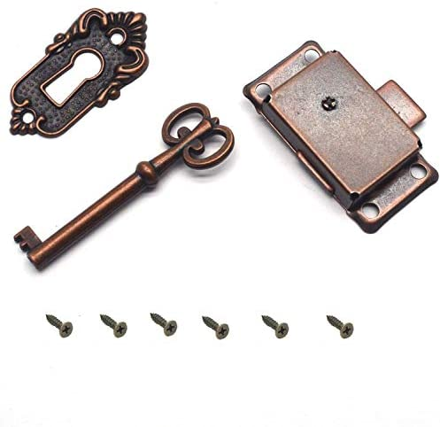 Sunwish homewares Cabinet Cupboard Furniture Decorative Lock Case Box Lock with Key and Screws (Antique Red)