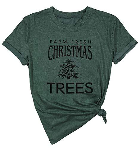 LUKYCILD Women Christmas Holiday T Shirt Farm Fresh Christmas Trees Print Funny Shirt Size L (Green)
