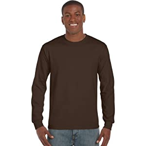 Gildan Mens Plain Crew Neck Ultra Cotton Long Sleeve T-Shirt (XL) (Dark Chocolate)