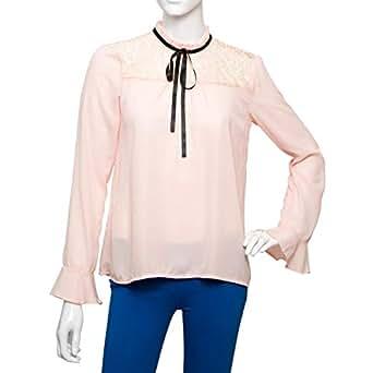 Parkhande Orange Polyester High Neck Blouse For Women