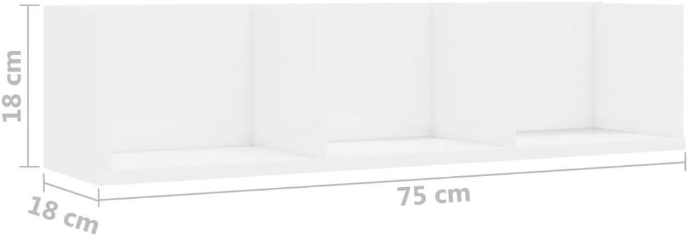 UnfadeMemory Estantes de Pared para CD o DVD,Estantes de Almacenamiento,Madera Aglomerado Blanco, 75x18x18cm