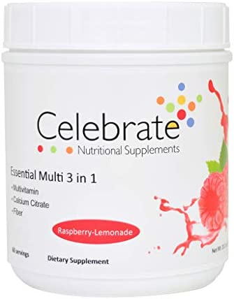 Celebrate ENS Essential Multi 3 in 1 Drink Mix Multivitamin Calcium and Fiber – Raspberry-Lemonade – 60 Serving Tub