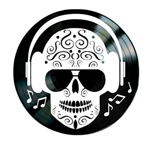Day of The Dead Sugar Skull with headphones on a Vinyl Record Wall -