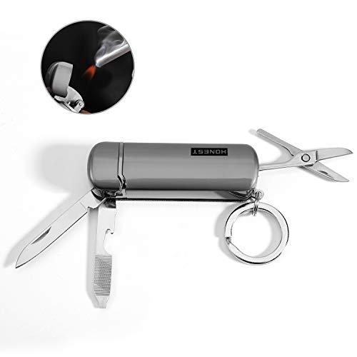 EDC Keychain Butane Cigarette Lighter with Knife, Bottle Opener, Nail File and Mini Scissors, flint fire starter (Grey) (Keychain Bottle Opener Lighter)