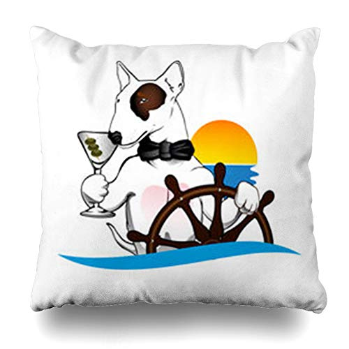 (Ahawoso Throw Pillow Cover Bow Blue Bull Terrier Dog Helm Wildlife Canine Captain Character Cocktail Stafford Home Decor Sofa Pillowcase Square Size 20 x 20 Inches Cushion Case)