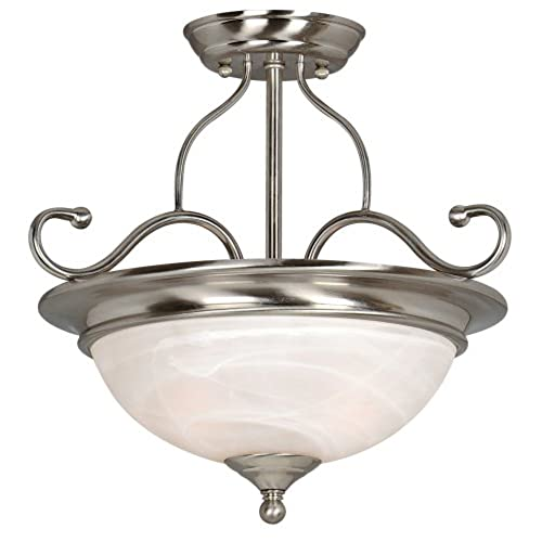 hardware house 543967 saturn 15 inch by 14 inch ceiling lighting fixture satin nickel - Bathroom Ceiling Lights