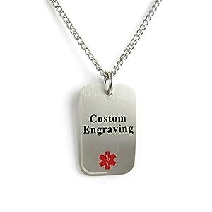 My Identity Doctor Custom Engraved Medical Alert Dog Tag 316L Steel Light-Weight