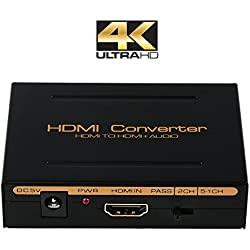 HDMI Audio Extractor Splitter, Bluesky One HDMI Input to HDMI Output + Optical SPDIF and RCA L/R Audio Out, 4K x 2K Converter
