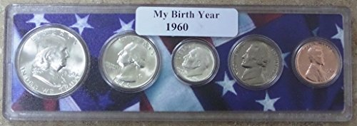 - 1960-5 Coin Birth Year Set in American Flag Holder Uncirculated