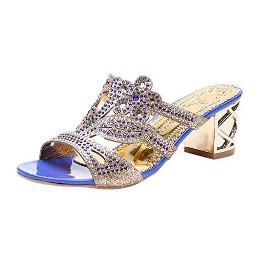 Women's Bohemia Shoes, Ladies Thick Crystal Roma Slipper Sandals Vintage Sparkle Peep Toe Casual Shoes ❤️ Sumeimiya ()