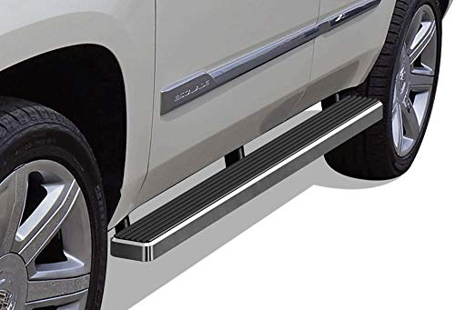 APS iBoard (Silver 4 inches) Running Boards | Nerf Bars | Side Steps | Step Rails for 2000-2019 Chevy Tahoe & GMC Yukon 4Dr (Excl. Z71&Denali) & 01-17 Cadillac Escalade (Excl. ESV/EXT)
