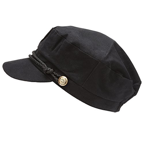 MIRMARU Women's 100% Cotton Greek Fisherman's Sailor Fiddler Hat Cap(47105-BLACK) -