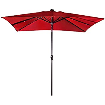 Abba Patio 7 By 9 Feet Rectangular Patio Umbrella With Solar Powered 32 LED  Lights With