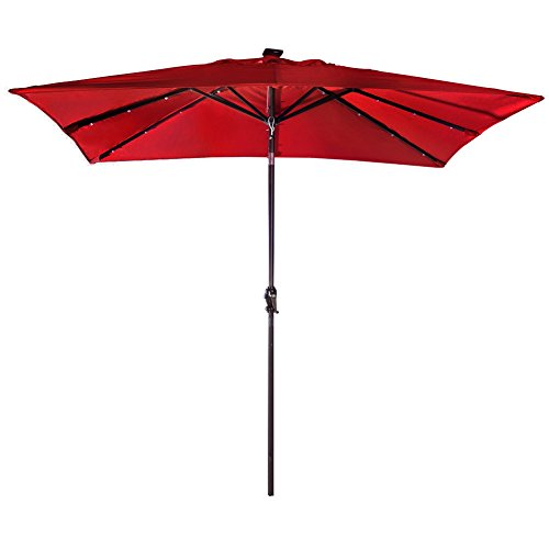 et Rectangular Patio Umbrella with Solar Powered 32 LED Lights with Tilt and Crank, Dark Red ()