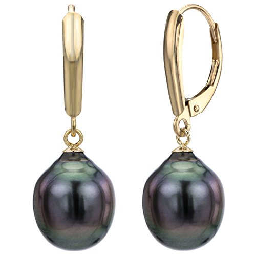 - 14k Yellow Gold 10-10.5mm Black Baroque Tahitian Cultured High Luster Pearl Lever-back Earrings