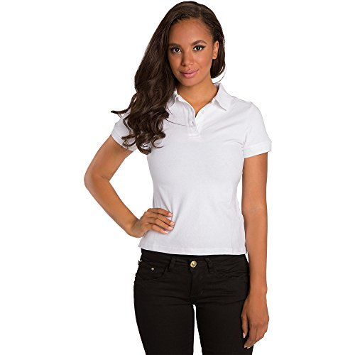 Sweet Vibes Women White Stretch Pique Polo Shirt Short Sleeve Two Button Placket Size (Pique Stretch Cap)