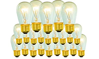 25 Replacement Light Bulbs Vintage Patio Edison Incandescent Clear Dimmable Outdoor Glass Lamps 11 Watt Bulbs 130 Volts