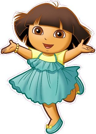 11 inch Dora The Explorer Blue Dress Removable Peel Self Stick Adhesive Vinyl Decorative Wall Decal Sticker Art Kids Room Home Decor Girl Children Bedroom Nursery 8 x 11 inches Tall (Dora Wall Decorations)