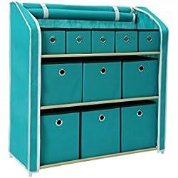 "Homebi Multi-Bin Storage Shelf 11 Drawers Storage Chest Linen Organizer Closet Cabinet with Zipper Covered Foldable Fabric Bins and Sturdy Metal Shelf Frame in Turquoise,31""W x12"" Dx32""H"